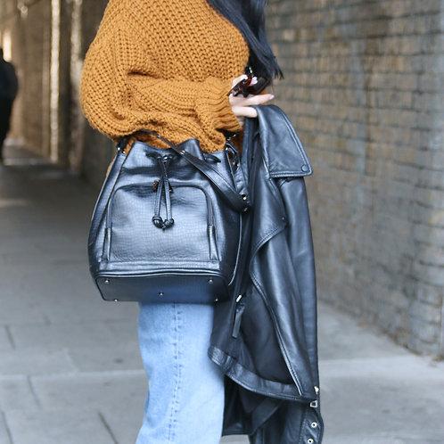 Nina Black Croco- Crossbody Leather Bag