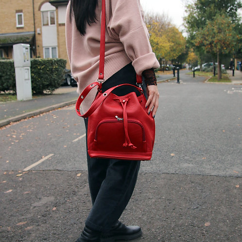 Nina Red - Crossbody Leather Bag