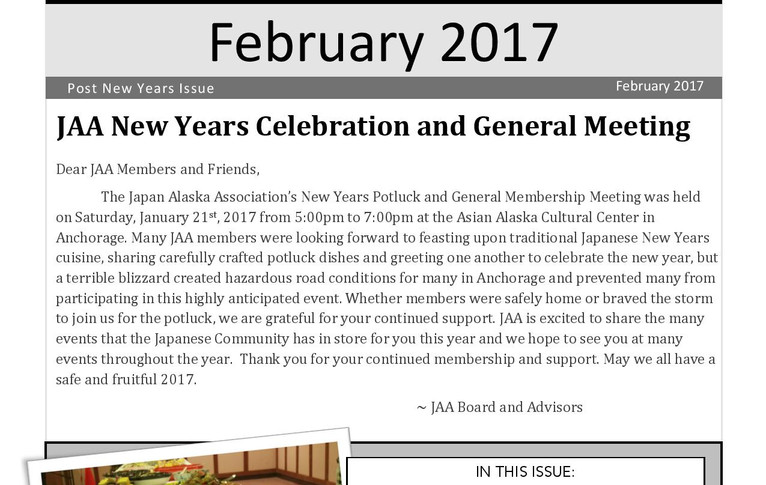 JAA Newsletter Cover Page