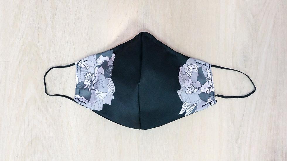 經典花卉圖案口罩套(黑色)