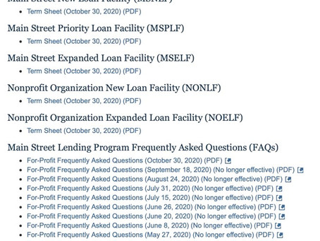 Main Street Loan Program Change and Update