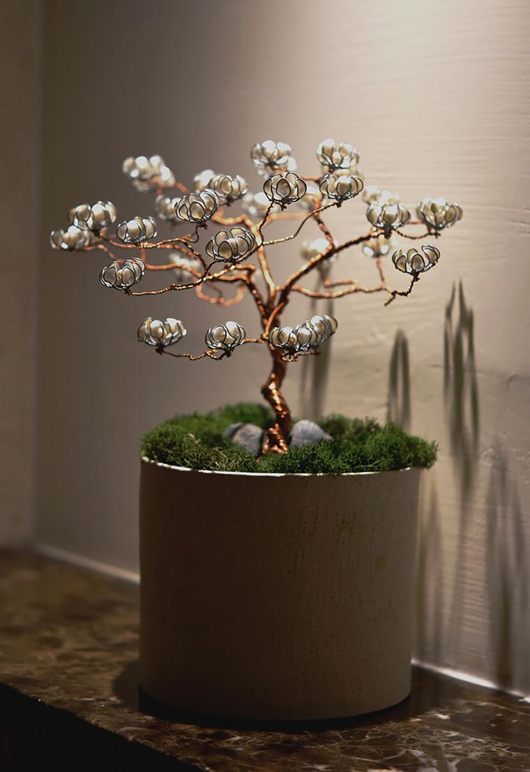 metal white flower tree at stairway.JPG