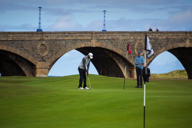 Golfers playing 17 at Duff House Royal.j