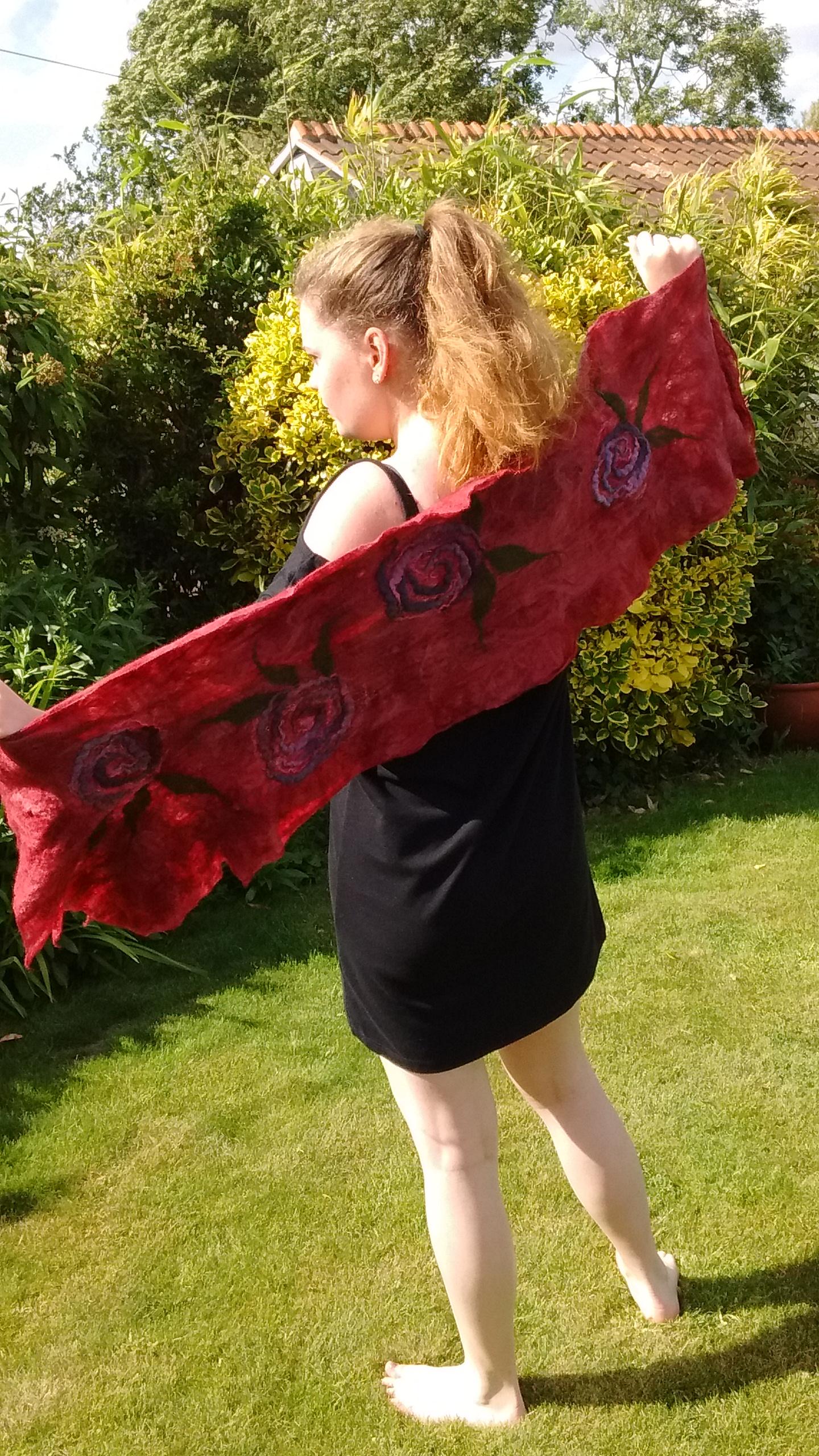 red nuno felt wrap