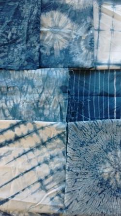 selection of Indigo dyed fabrics