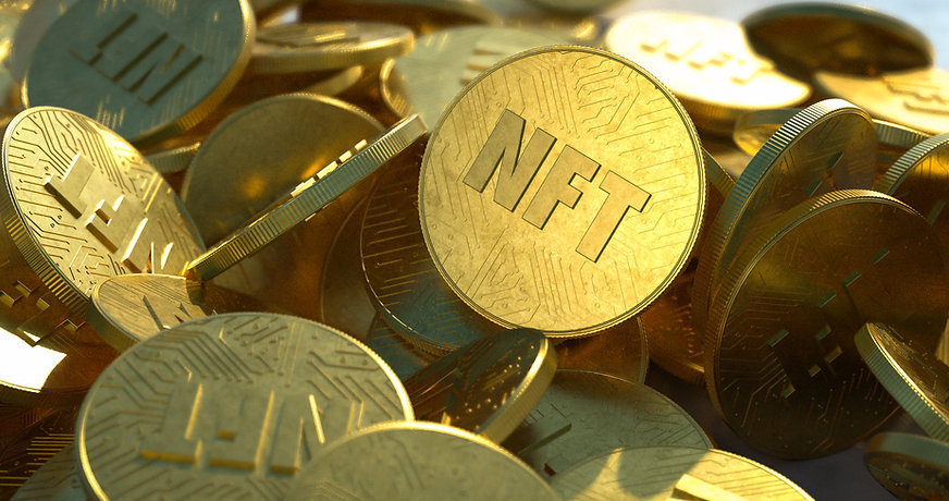 NFT golden coins in pile. Non fungible tokens dropped casually in a large pile, close-up s