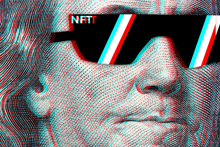 Concept cryptographic nft on a hundred-dollar bill franklin in glasses..jpg