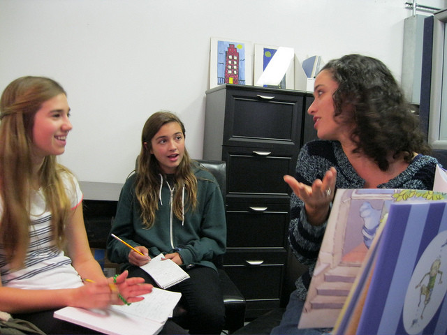 click to see savvy reporters interviewing a dorky new author!