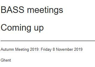 Save the date - BASS autumn meeting  8 novembre 2019