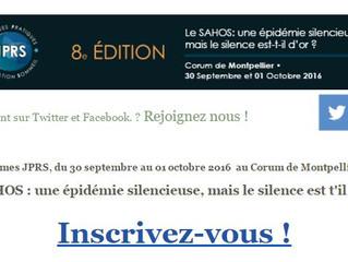 8èmes JPRS, du 30 septembre au 01 octobre 2016  au Corum de Montpellier