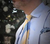Seaward & Stearn Blue:Yellow Tie & Pocke