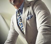 Seaward & Stearn Blue:Brown Tie & Pocket