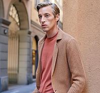 Maurizio Baldassari Tan Knit Jacket.png