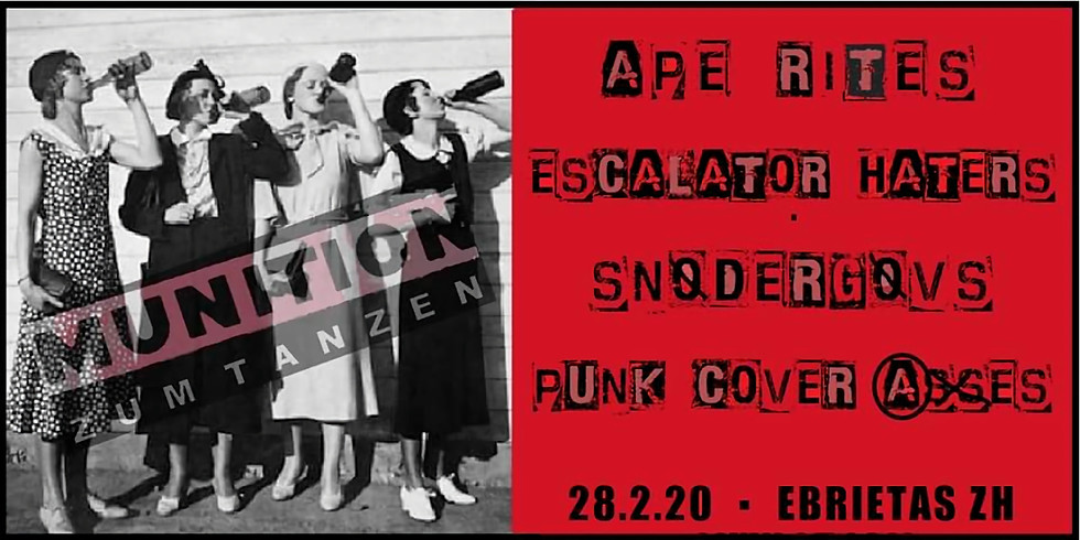 Ape Rites • Snødergøvs • Escalator Haters • Punk Cover Asses