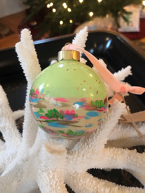 "Abstract Marsh Ornament 2.75"", citron & peach no. 1"