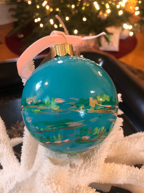 Abstract Marsh Ornament, Aqua no.1