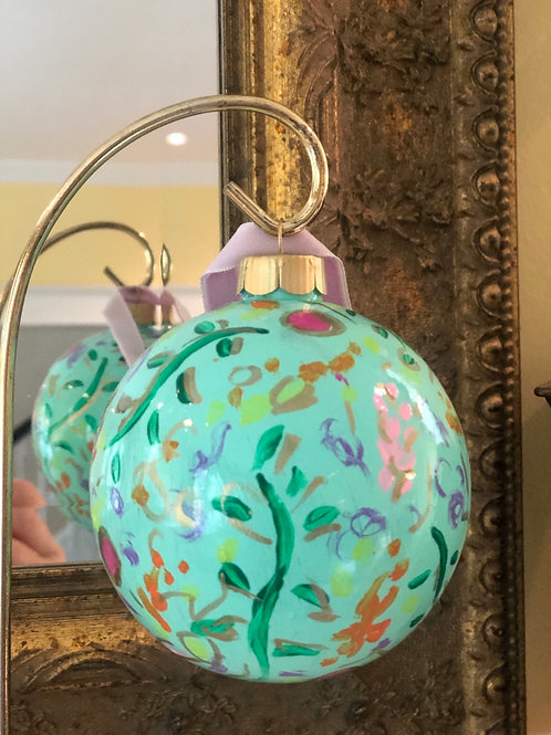 Wildflower Ball Ornament, Teal no. 3