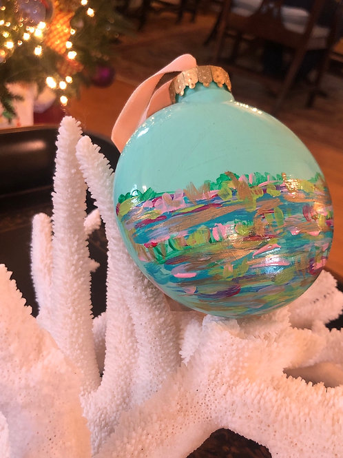 Abstract Marsh Disc Ornament, teal no. 3