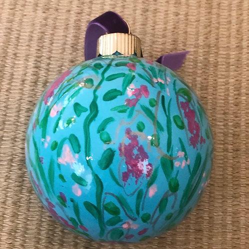 Wildflower Ball Ornament, Blue no.1