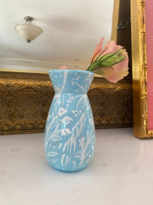 Blue Wildflower Bud Vase