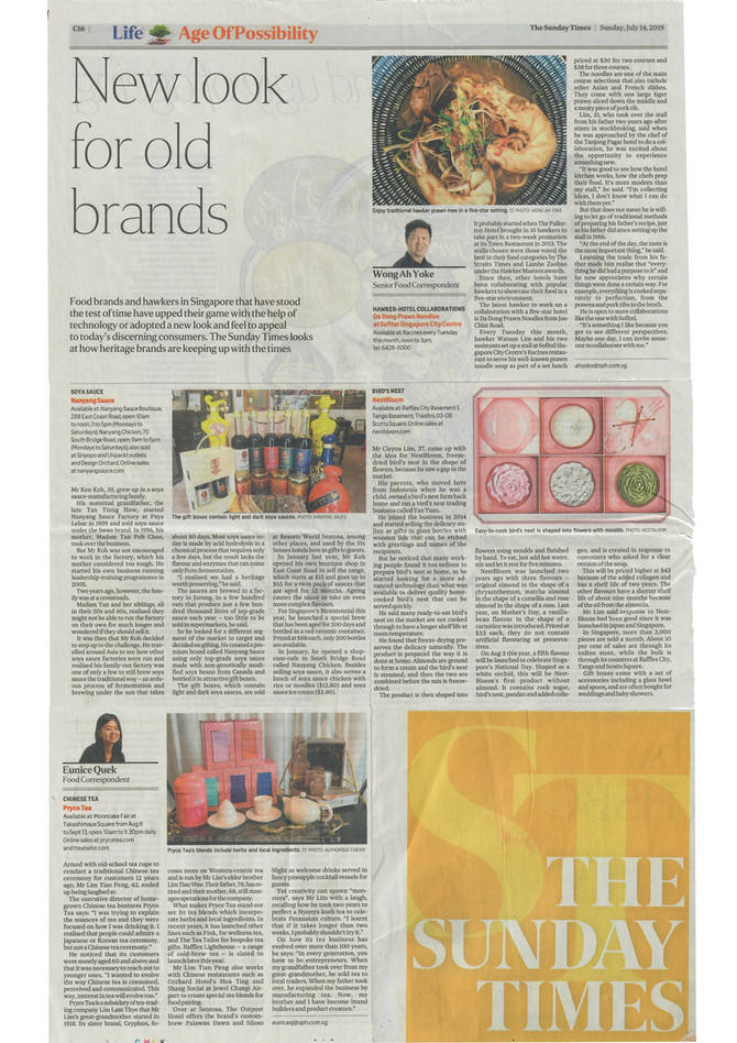 Nanyang Sauce featured on The Sunday Times!