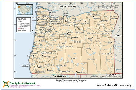 The Aphasia Network: Supported Communication Tools, ahasia resources, Oregon Map for communication book