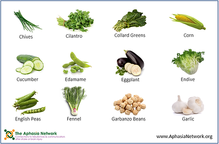 The Aphasia Network: Supported Communication Tools, ahasia resources, vegetable list for communication book