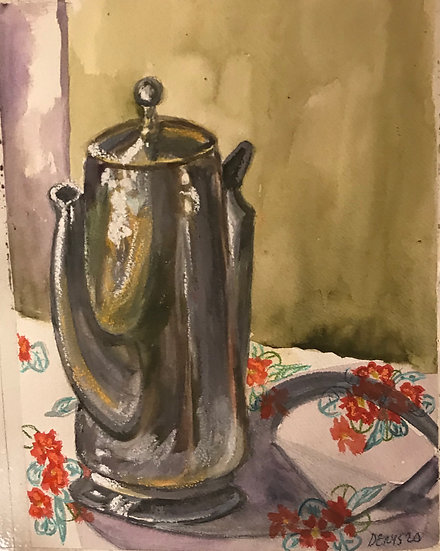 Coffee Pot on Embroidered Tablecloth
