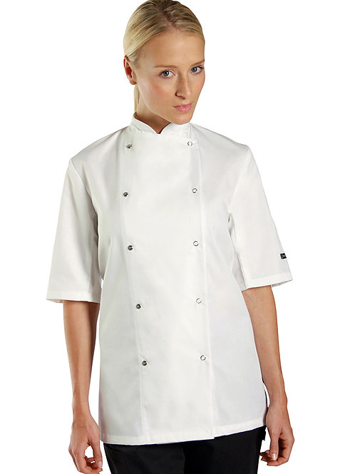 DE003 Chef's jacket short sleeve press stud