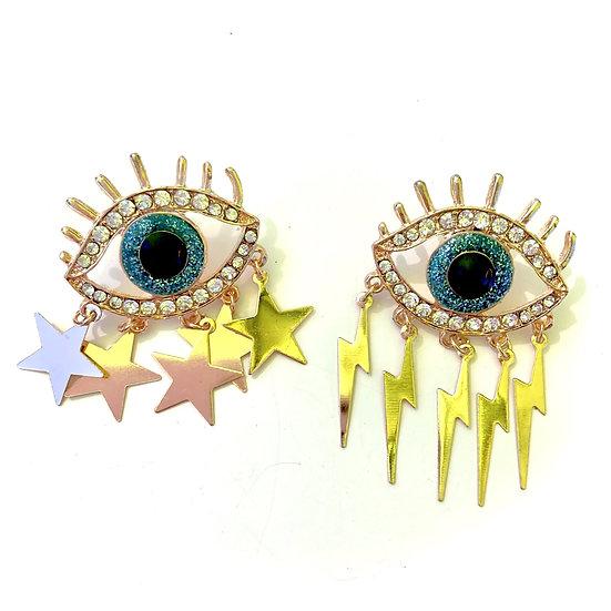 Star and Lightning Eye Earring