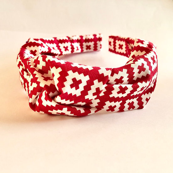 Red Squares Knot Headband