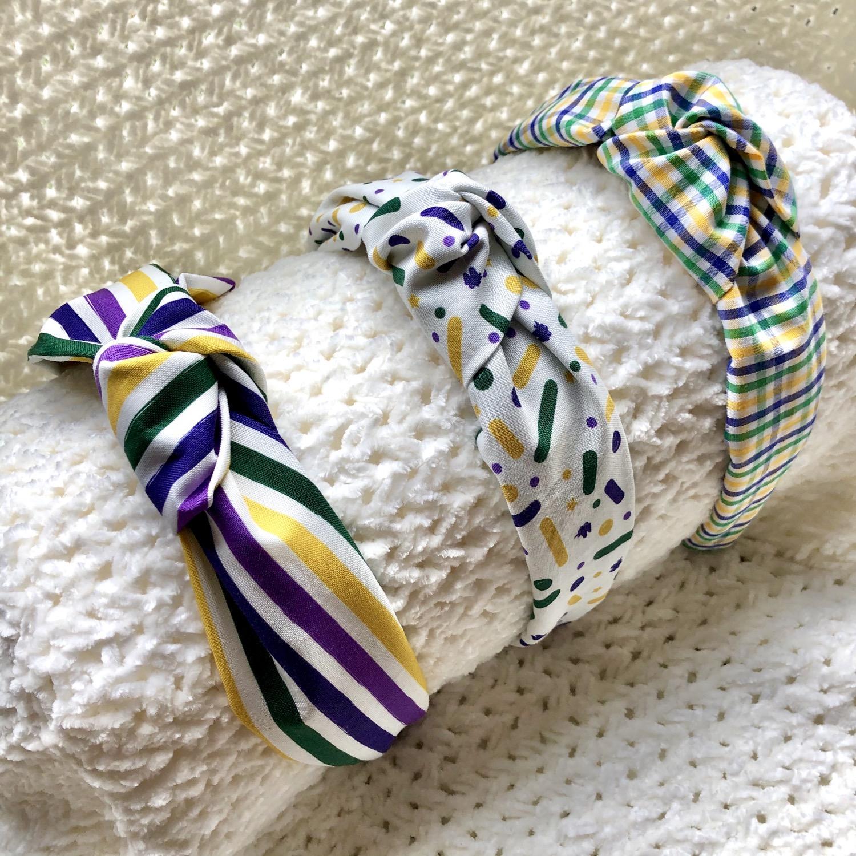 Mardi Gras knot Headband
