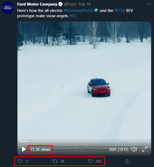 Annotated screenshot posted by Ford of the Mustang MachE and Ford F150 Electric Prototype drifting in a snowy forest