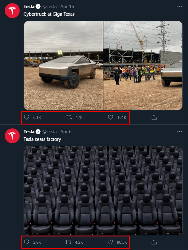 Annotated screenshot of two Tweets posted by Tesla, one of their Cybertruck at their gigafactory in Texas, the other showing a photo of the Tesla seats factory