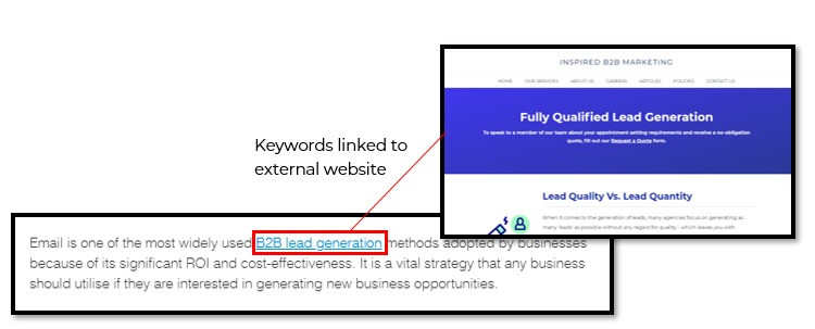 Example of a backlink with keywords linking to an external website of Inspired B2B Marketing.