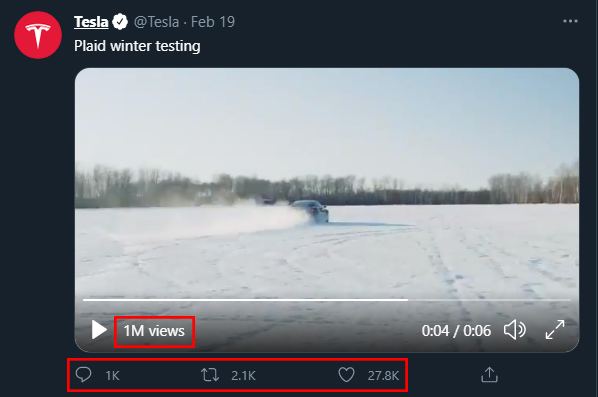 Annotated screenshot of a Tweet posted by Tesla with a video of the Tesla Model S 'Plaid' being tested in a snowy environment