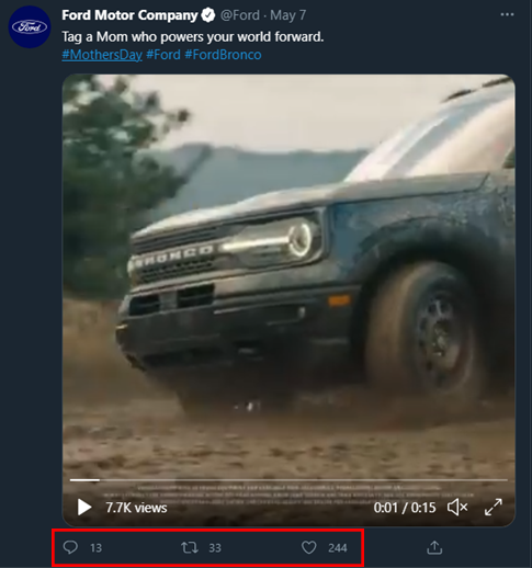 Annotated screenshot of a Twitter post made by Ford on Mother's Day with a video of the Ford Bronco off-roading