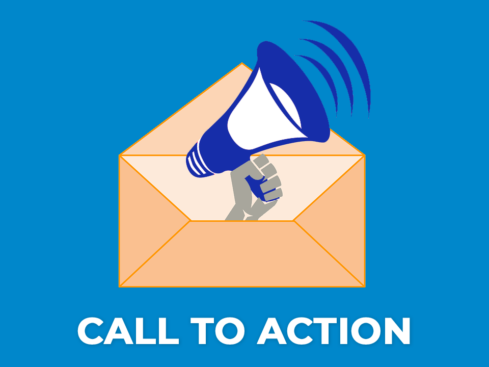 Illustrated image showing a call to action with a megaphone coming out of a envelope demonstrating an email call to action