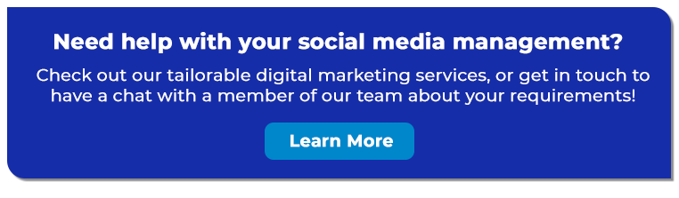 White text on a blue rectangular background explaining Inspired Digital's tailorable digital marketing services