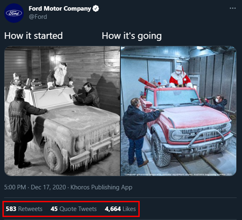 Annotated screenshot of a Tweet by Ford that shows an old Christmas photo of the Ford Bronco and a recreated scene with the new Ford Bronco