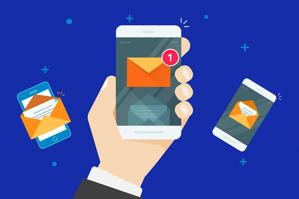 Illustrated graphic showing three mobile phones with fully optimised emails