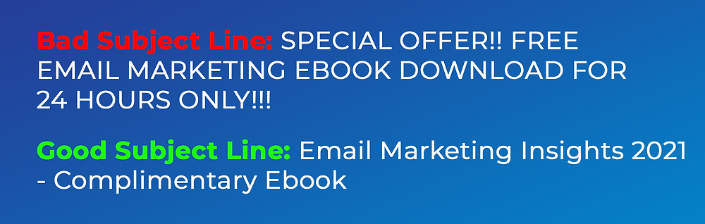 Two written examples of good and bad email subject lines for an email promoting an email marketing ebook.