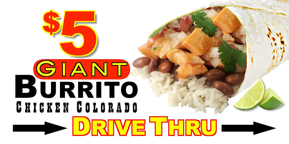 $5 Giant Colorado Burrito 3x6 Banner  2.