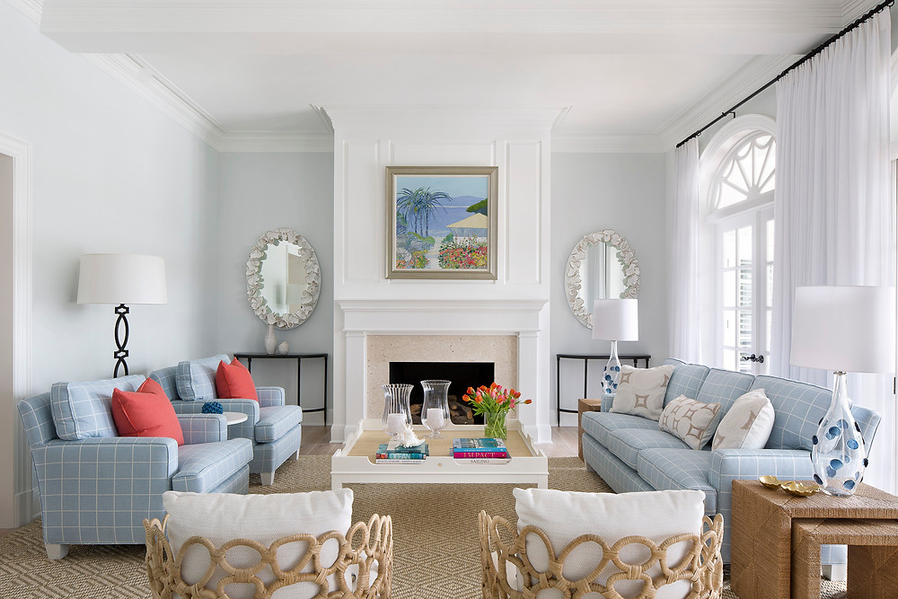 Vero Beach living room with fireplace