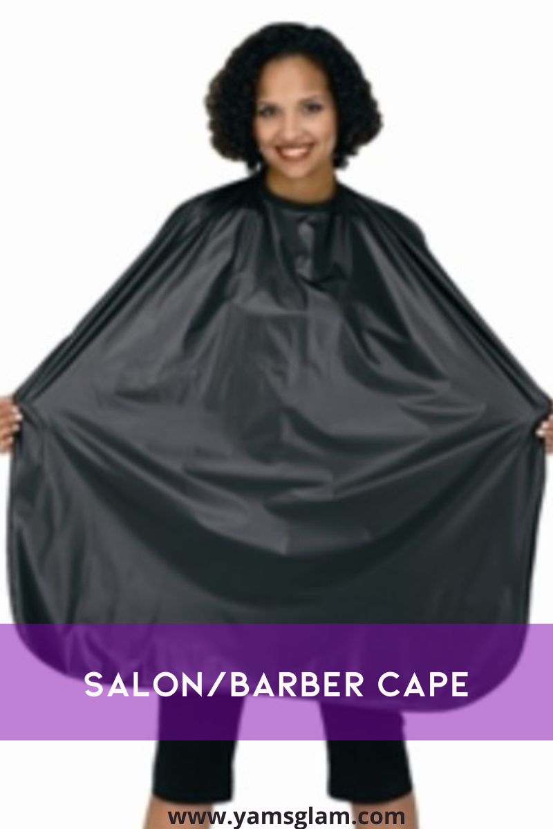 woman modeling salon cape