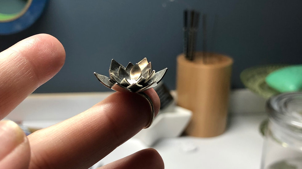 Layered Lotus Ring
