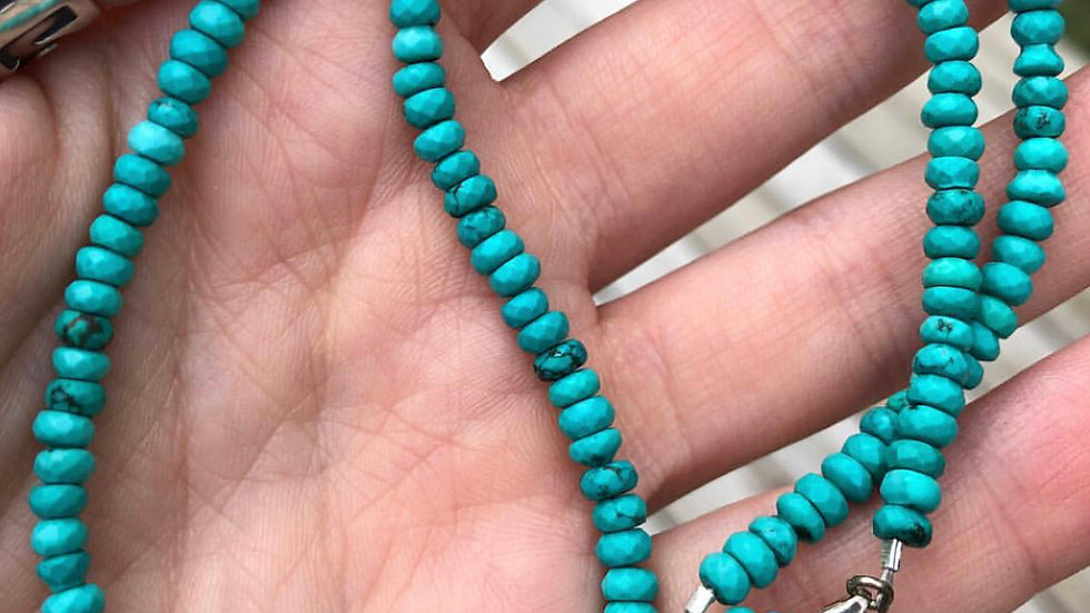 Genuine Turquoise Beaded Choker Necklace
