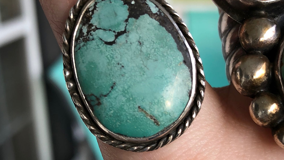 Sweet Little Sterling Silver Turquoise Ring - Destash