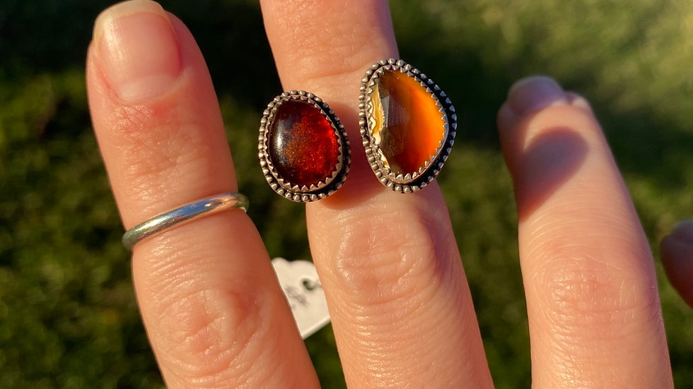 Baltic Amber and Rose Cut Montana Agate Open Face Ring