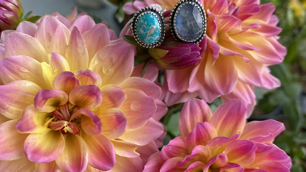 Whitewater Turquoise and Rainbow Moonstone Open Ring